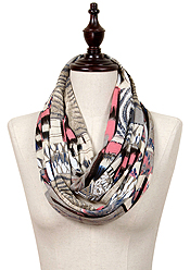 ABSTRACT PRINT JERSEY INFINITY SCARF - 100% POLYESTER