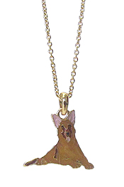EPOXY DOG PENDANT NECKLACE