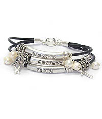 RELIGIOUS INSPIRATION TRIPLE CORD MESSAGE MAGNETIC BRACELET - FAITH BELIEVE BLESSED