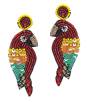 HANDMADE MULTI BEAD AND SEQUIN MIX TROPICAL BIRD EARRING - PARROT
