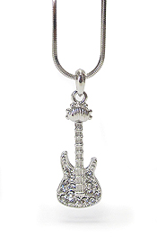 WHITEGOLD PLATING CRYSTAL MUSIC THEME GUITAR PENDANT NECKLACE