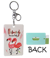 BUSINESS CARD HOLDER KEY CHAIN - FLAMINGO