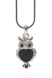WHITEGOLD PLATING CRYSTAL AND ACRYL DECO OWL PENDANT NECKLACE