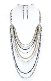 MULTI ROW FACET GLASS BEADS AND MIXED METAL CHAIN LONG CHAIN NECKALCE EARRING SET