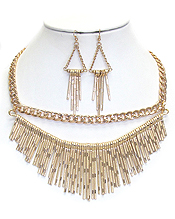 TWO LAYER CHAIN AND TASSEL DROP NECKLACE SET