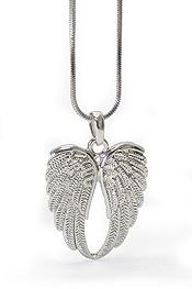 WHITEGOLD PLATING ANGEL WING NECKLACE