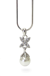 WHITEGOLD PLATING CRYSTAL AND PEARL PENDANT NECKLACE