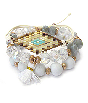 MULTI FACET BEAD AND PULL TIE MIX STRETCH BRACELET SET