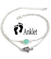 SEALIFE THEME SEAGLASS DOUBLE LAYER ANKLET - TURTLE