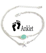 SEALIFE THEME SEAGLASS DOUBLE LAYER ANKLET - STARFISH
