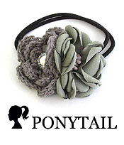 HANDMADE ART CRAFT FLOWER PONYTAIL HAIR BAND