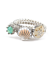 SEALIFE THEME 3 PIECE RING SET - SHELL