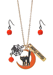 HALLOWEEN THEME PENDANT NECKLACE SET - SPIDER AND CAT