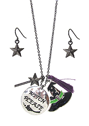 HALLOWEEN THEME PENDANT NECKLACE SET - WITCH