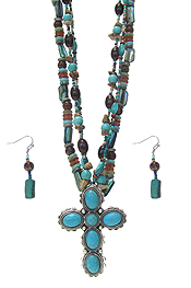 MULTI LAYER MIXED BEAD NECKLACE SET - TURQUOISE CROSS