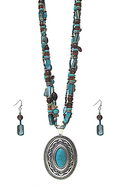 MULTI LAYER MIXED BEAD NECKLACE SET - TURQUOISE