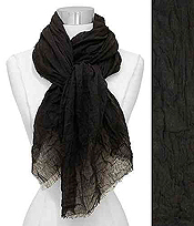 FRAYED END CRINKLED VISCOSE SCARF