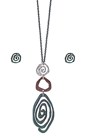 MULTI SWIRL PENDANT LINK DROP LONG NECKLACE SET