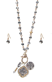 RELIGIOUS THEME PENDANT AND BEAD CHAIN NECKLACE SET - BRAVE