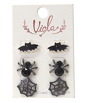 HALLOWEEN THEME 3 PAIR EARRING SET - BAT AND SPIDER