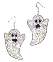 HANDMADE HALLOWEEN THEME MULTI SEEDBEAD EARRING - GHOST