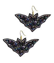 HANDMADE HALLOWEEN THEME MULTI SEEDBEAD EARRING - BAT