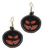 HANDMADE HALLOWEEN THEME MULTI SEEDBEAD EARRING - PUMPKIN