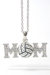 WHITEGOLD PLATING CRYSTAL STUD VOLLEYBALL MOM PENDANT NECKLACE