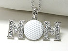 WHITEGOLD PLATING CRYSTAL STUD GOLF MOM PENDANT NECKLACE