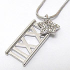 WHITEGOLD PLATING CRYSTAL STUD STAR AND ROMAN NUMBER PENDANT NECKLACE