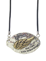 INSPIRATION HAMMERED SPOON HEAD PENDANT NECKLACE - SHE FLIES WITH BRAVE WINGS