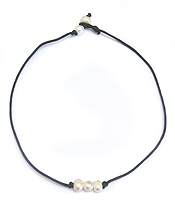 FRESHWATER PEARL LEATHERETTE CORD CHOKER NECKLACE