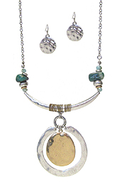 METAL DISC PENDANT NECKLACE SET