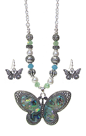ABALONE PENDANT AND MIX BEAD NECKLACE SET - BUTTERFLY