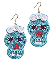 HANDMADE MULTI SEEDBEAD AND SEQUIN SUGAR SKULL EARRING