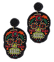 HANDMADE MULTI SEEDBEAD AND EMBROIDER SUGAR SKULL EARRING