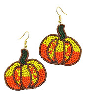 HANDMADE MULTI SEEDBEAD PUMPKIN EARRING