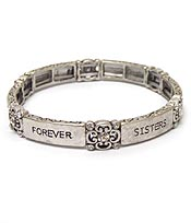 MESSAGE CRYSTAL AND FILIGREE ON SIDE STRETCH MESSAGE BRACELET - SISTERS FRIENDS FOREVER