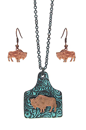 FARM ANIMAL EAR TAG PENDANT NECKLACE SET - BUFFALO