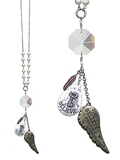 RELIGIOUS INSPIRATION MESSAGE ANGEL WING AND MULTI CHARM LONG NECKLACE - BELIEVE