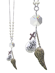 RELIGIOUS INSPIRATION MESSAGE ANGEL WING AND MULTI CHARM LONG NECKLACE - FAITH