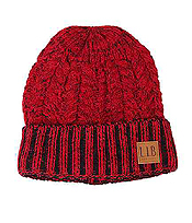 TWO TONE KNIT BEANIE - 100% ACRYLIC