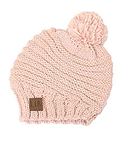 POMPOM STRIPE KNIT HAT - 100% ACRYLIC