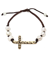 GENUINE FRESH WATER PEARL AND HAMMERED CROSS AND ADJUSTABLE CORD BRACELET