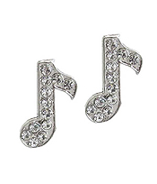 WHITEGOLD PLATING CRYSTAL MUSIC NOTE EARRING
