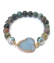 DRUZY AND GENUINE STONE STRETCH BRACELET