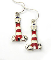 THIN LIGHTHOUSE FISH HOOK EARRINGS