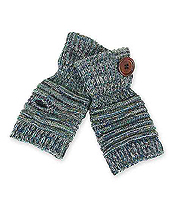 BUTTON DECO FINGERLESS GLOVES - 35% WOOL 65% ACRYLIC