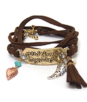 BOHEMIAN CHARM MULTI ROW LEATHER BRACELET NOW BEGINNING