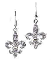 WHITEGOLD PLATING CRYSTAL FLEUR DE LIS DROP EARRING